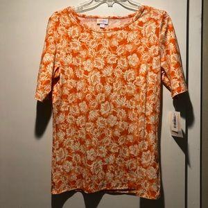 LuLaRoe Gigi orange floral Shirt size XL NWT